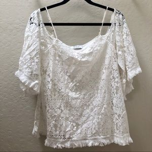 BAILEY44 Tusk Top white lace size small